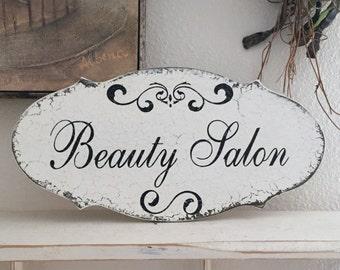 Beauty Salon, Shabby Chic Style Signs, 14 x 7
