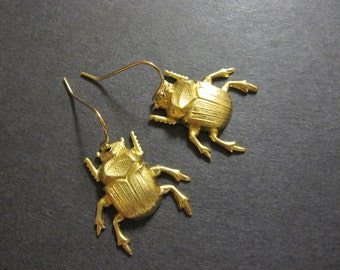 Beetle Earrings, Scarab Earrings, Bug Earrings,  Insect Jewelry, Brass Beetles, Woodland Bug, 14k GF Wires, Dangle, Gothic, Creepy, Pierced