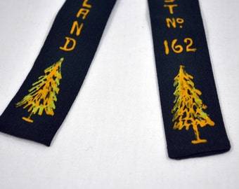 Vintage Long Island Shrine Club - Shriners - Forest Clip On Green Tie - Hand Painted