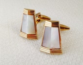 Vintage, Art Deco Design, Mother of Pearl, Gold Plated Cuff Links, Men's Dress Wear