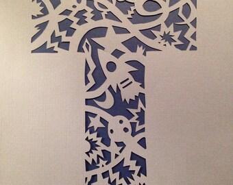 Gray and Navy Galactic Silhouette, Letter T, handmade papercut, wall art, nursery art