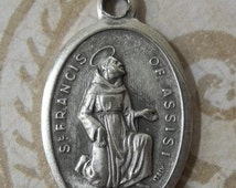 HUGE SALE Vintage Saint Francis Of Assisi Italian Holy Medal Protector Of Animals Kneeling, Made In Italy Patron Of Pet Lovers, Pray For Us