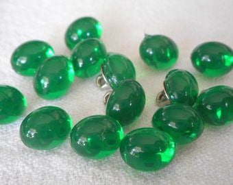 Set of 15 VINTAGE Small Green Oval Acrylic Rounded BUTTONS
