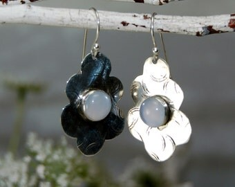 Blue Chalcedony Dangle Earrings Sterling Silver Scalloped Leaves - Natural Chalcedony