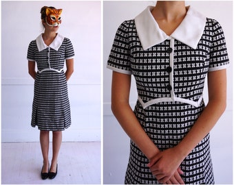 Vintage 50's/60's Black and White Textured Shirt-Waist Dress by Shannon Rodgers for Jerry Silverman   Medium