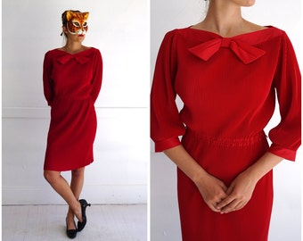 Slinky Vintage Ruby Red Rayon Accordion Fitted Wiggle Dress by Koret of California | Medium
