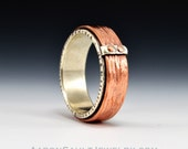Connection Series - Crosspeen.  Sterling Silver Band with Textured Copper.