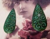 Verdigris Patina  Brass Stamping Pendant Drops 272VER x2