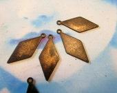 Hand Oxidized Patina Brass Diamond Shape BlankTags 2123HOX x4