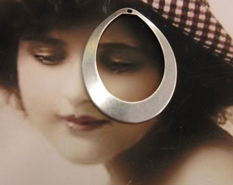 Sterling Silver Oxidized Plate Brass Oval Hoops 42SOX x2