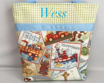 BOY's  Tote  ... Antique TOYS  ... Child Size  Bag  ...  Monogrammed  FReE .. Ring Bearer