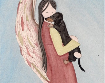 Black shorthaired dachshund with Angel (profile) / Lynch signed folk art print (Weiner / Wiener Doxie)