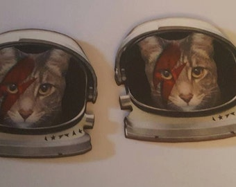 Cat, Cat sweater clips, Cat barrettes, Bowie, Starman, Ziggy stardust, Kitty clips, Kitty necklace, cat jewelry, Kitty jewelry