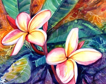 plumeria paintings, original watercolors,  tropical flower painting, frangipani art, kauai fine art, hawaiian wall decor, hawaii design