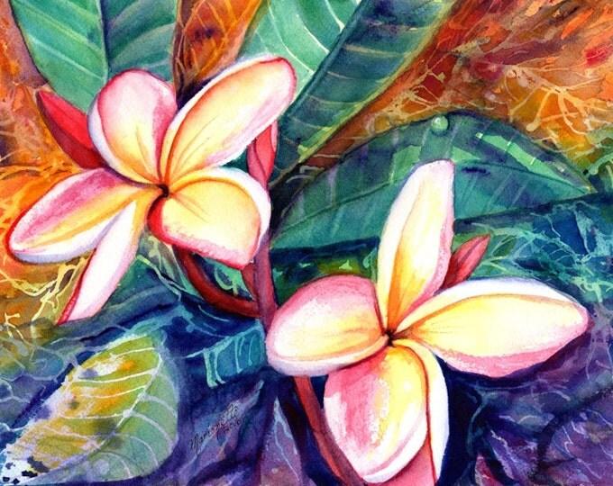 plumeria paintings, original watercolors,  tropical flower painting, frangipani art, kauai fine art, hawaiian wall decor, hawaii design