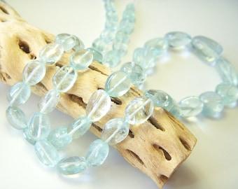 Top Grade Polished Aquamarine Nuggets - Half Strand - 7 to 16mm - 11.5 Inches -110 carats