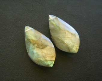 Peachy Aqua Labradorite Faceted Pointy Drops - Pair - 12x23.5mm
