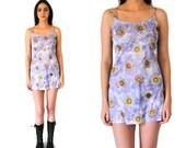 early 90s mini dress 1990s vintage DAISY print dress 90s CLUB kid floral baby doll spaghetti strap dress small