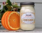 Aromatherapy Soy Candle // orange, bergamot, jasmine essential oil candle, natural, handmade candle