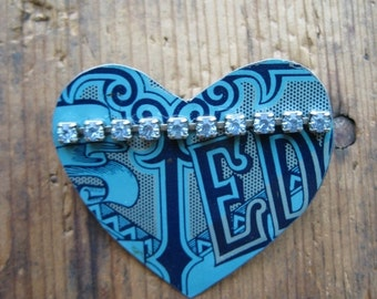 50% OFF SALE Vintage Edgeworth Heart Tin Brooch, Recycled, Repurposed, Gifts under 15, Gfits for her, Affordable Jewelry