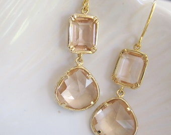 Blush Peach Earrings, Petite Dangle Drop, Gold Rimmed, Blush Champagne, Color Block, Gold, Bridesmaid Earrings, Wedding Jewelry