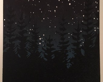 Nights Stars #2- Reduction Woodcut Print