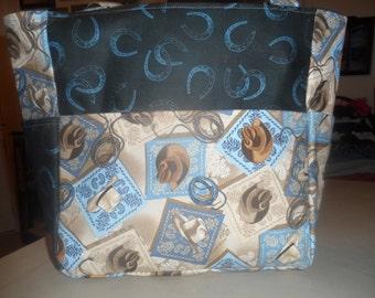 western saddles horses hats cowboys horseshoes blue tote bag/purse/ diaper bag