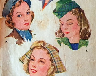 Vintage 40s Sculptural Dutch Influence Hat Millinery Sewing Pattern McCall 1071 One Size