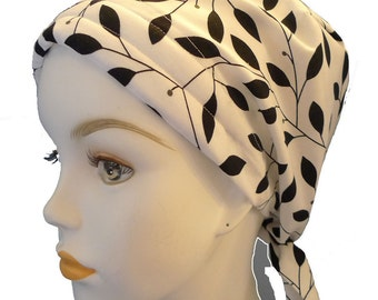 Black & White with Gray Berries Cancer Hat Chemo Scarves Head Wrap Hair Loss Turban Headcovering Bad Hair Day Hat