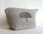 Linen Zippered Pouch //  Multipurpose Pouch //Cosmetic Case //  Handstamped Pouch // Natural