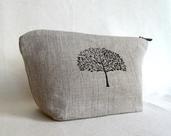 Linen Zippered Pouch // Travel Pouch //Cosmetic Case // Large Zippered Pouch // Handstamped //  Tree //    Natural