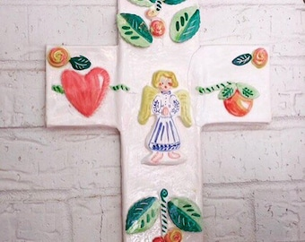 Large Handmade Ceramic Cross,Folk Art Cross, Handpainted Cross, Indoor or Outdoor