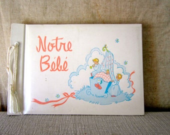 French Baby Diary Book 'Notre Bebe' - Our Baby Journal Baby Record Book Memorabilia Lovely Illustrations & Graphics UnUsed BLANK