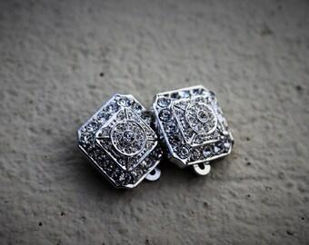 Vintage 925 silver clip on earrings - beautiful shiny rhinestones, fancy wear