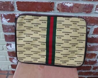 Vintage attache, portfolio, zippered pouch, steinberg kass, designer look, laptop cover,