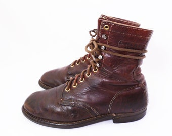 Santa Rosa Brand // vintage lace up grunge boots // brown leather ankle boots // women's size 8 W