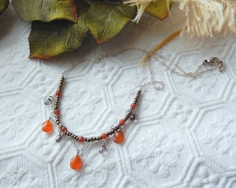 One of a Kind Artisan Crafted .925 Sterling Silver Carnelian Czech Glass Choker Necklace