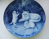 1973  Mother's Day Plate Kaiser West Germany Cats Blue White