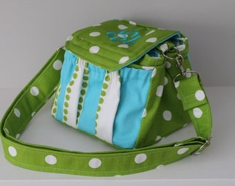 Chartreuse Polka Dot Green Custom Camera Bag by Watermelon Wishes