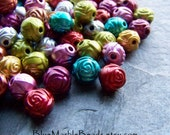 Rose Bead-Rose Bud-Etched Beads-Acrylic Beads-Pearl Beads-Metallic Beads-Small Flower Beads-3D Beads-Assorted Colors-Mix-Assortment-50 Beads