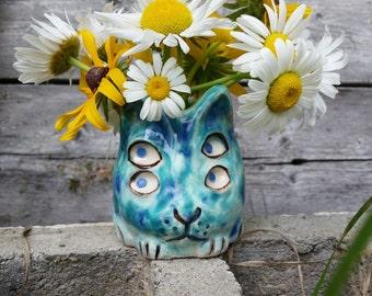 The Four Eyed Turquoise Kitty Vase