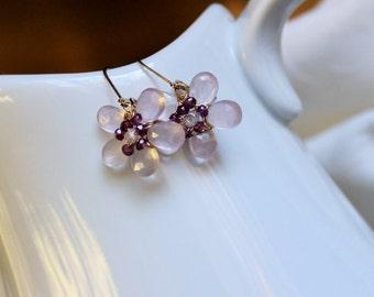 Pretty Pink Quartz and Garnet earrings
