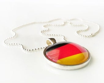 """Flag Necklace - GERMANY - glass dome necklace, bezel set pendant, flag image, striped necklace - 18"""" silvertone ball chain"""