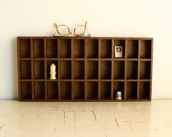 Vintage wood shadow box - trinket shelf - trinket box - knick knack shelf - display shelf - wall curio - rectangle shape