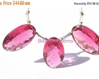 55% OFF SALE 3 Piece Set of Extremely Gorgeous Pomegranate Pink Quartz Faceted Oval Briolettes 25x15mm