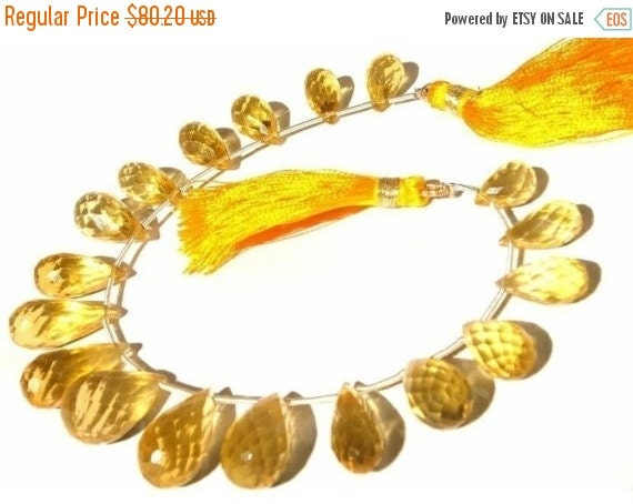 55% OFF SALE 1/2 Strand - Genuine Golden Fluorite Faceted Teardrop Briolettes Size 11x7mm - 19x9mm approx
