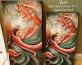 """No Hurry, No Worry ~ Green Breastfeeding 10x20"""" Stretched Canvas Print"""