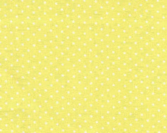 White Polka Dots on Yellow Fabric with White Polka Dots By Yard, Quarter Yard, Fat Quarter Yellow & White Dot Cotton Quilting Fabric w8/5