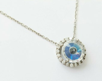 Round Evil Eye Pyramid Crystal Necklace - Sterling Silver - Clear Swarovski Crystals