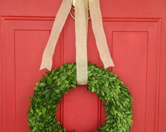 Preserved Boxwood Wreath, Christmas Wreath, Burlap Wreath, Dried Wreath, Natural Wreath, Boxwood Wreath, Herb Wreath, Year Round Wreath